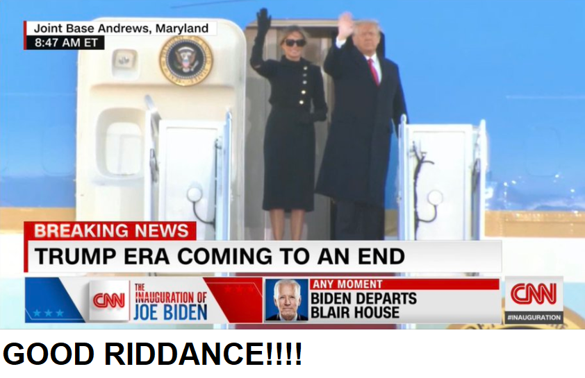 "Foto di Donald Trump e moglie Melania che lasciano Washington con didascalia ""Trump era coming to an end"" e commento ""GOOD RIDDANCE!!!!"""