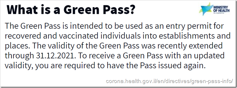 What is a Green Pass? The Green Pass is intended to be used as an entry permit for recovered and vaccinated individuals into establishments and places. The validity of the Green Pass was recently extended through 31.12.2021. To receive a Green Pass with an updated validity, you are required to have the Pass issued again.