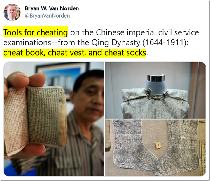 tweet con foto di reperti cinesi e testo Tools for cheating on the Chinese imperial civil service examinations--from the Qing Dynasty (1644-1911): cheat book, cheat vest, and cheat socks.
