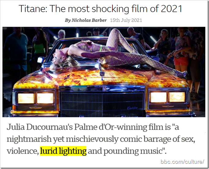 """Immagine del film con titolo """"Titane: The most shocking film of 2021"""". Sottotitolo: Julia Ducournau's Palme d'Or-winning film is """"a nightmarish yet mischievously comic barrage of sex, violence, lurid lighting and pounding music""""."""